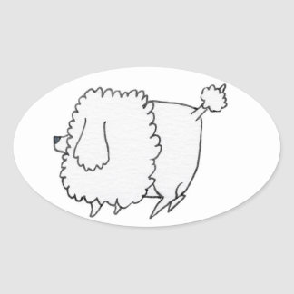 Etiqueta da caniche adesivo oval