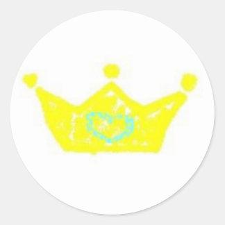 Etiqueta da coroa do príncipe adesivo redondo