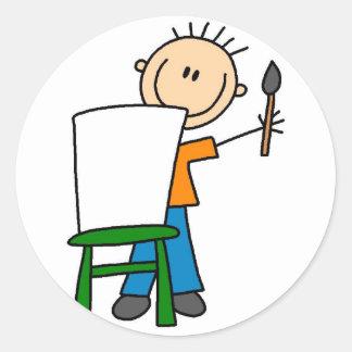 Etiqueta da escola da pintura do menino adesivo