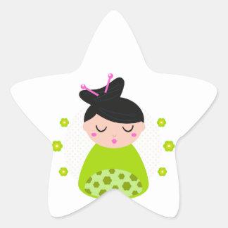 Etiqueta da estrela com gueixa/verde adesito estrela