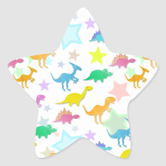 Etiqueta da estrela da cor dos dinossauros dos adesito estrela