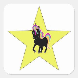 Etiqueta da estrela do unicórnio adesivo quadrado