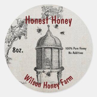 Etiqueta da etiqueta do frasco do negócio do mel adesivo