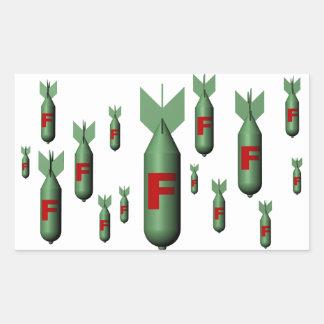 Etiqueta da F-Bomba Adesivo Em Formato Retângular