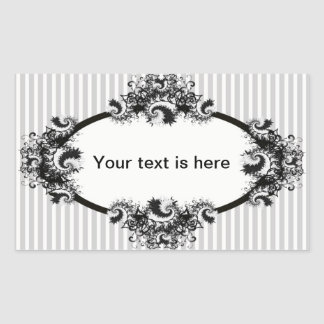 Etiqueta da fantasia em preto e branco por adesivos retangulares