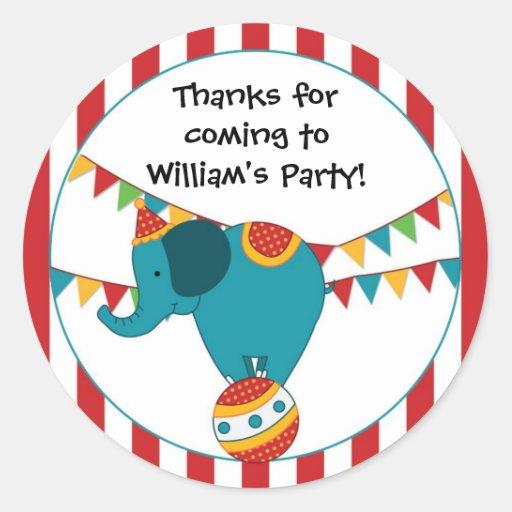 Etiqueta da festa de aniversário do elefante do ci adesivo