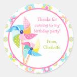 Etiqueta da festa de aniversário do Pinwheel Adesivos