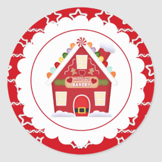 Etiqueta da festa natalícia da Sra. Claus Padaria