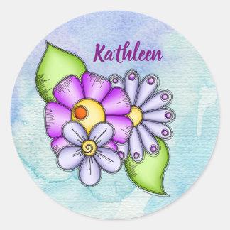 Etiqueta da flor do Doodle da aguarela do prazer