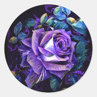 Etiqueta da flor do rosa do roxo por oásis astutos