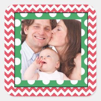 Etiqueta da foto de família adesivo quadrado