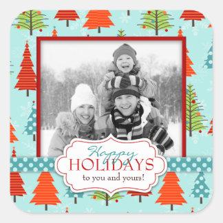 Etiqueta da foto do Natal do divertimento Adesivos Quadrados