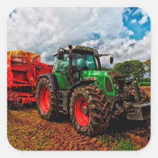 Etiqueta da foto do trator de cultivo adesivo quadrado