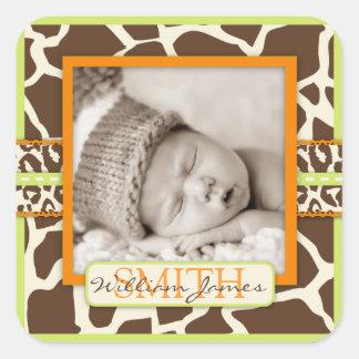 Etiqueta da foto do verde do menino do safari adesivo quadrado