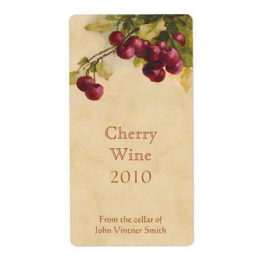 Etiqueta da garrafa de vinho da cereja etiqueta de frete