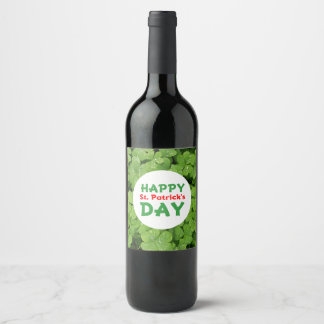 Etiqueta da garrafa de vinho do dia de St Patrick