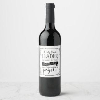 Etiqueta da garrafa de vinho do líder