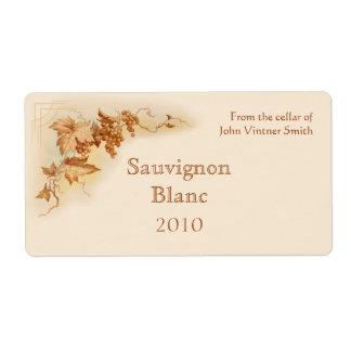 Etiqueta da garrafa de vinho etiqueta de frete