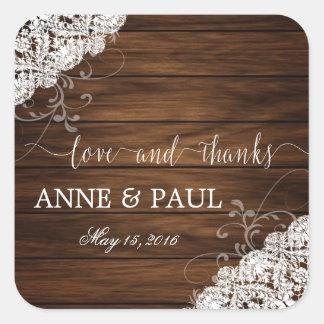 Etiqueta da madeira & do casamento do laço adesivo quadrado
