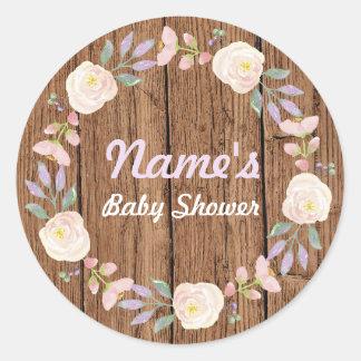 Etiqueta da madeira do rosa da grinalda da flor da