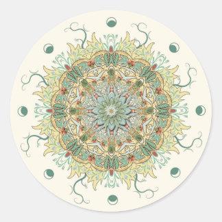 Etiqueta da mandala da flor de Morris do vintage