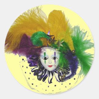 Etiqueta da máscara 2 do carnaval adesivo redondo