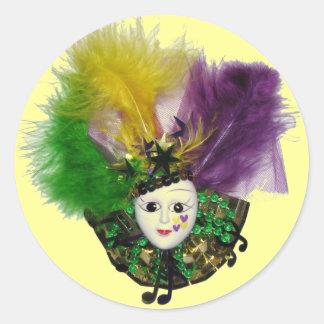 Etiqueta da máscara do carnaval adesivos em formato redondos