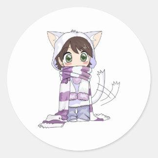 etiqueta da menina do anime do gato do chibi