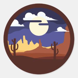 Etiqueta da paisagem do deserto