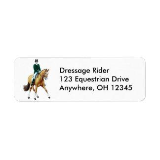 Etiqueta da passagem do cavalo do adestramento etiqueta endereço de retorno