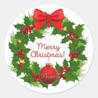 Etiqueta da paz da grinalda do Feliz Natal