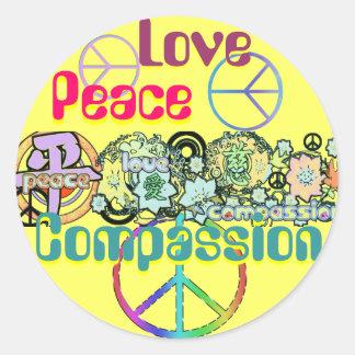Etiqueta da piedade do amor da paz