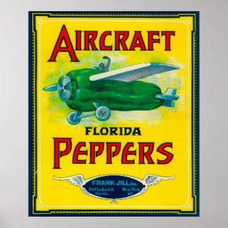 Etiqueta da pimenta dos aviões impressão