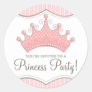 Etiqueta da princesa Aniversário Cor-de-rosa Coroa Adesivo