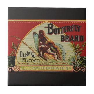 Etiqueta da propaganda da borboleta do vintage azulejo de cerâmica