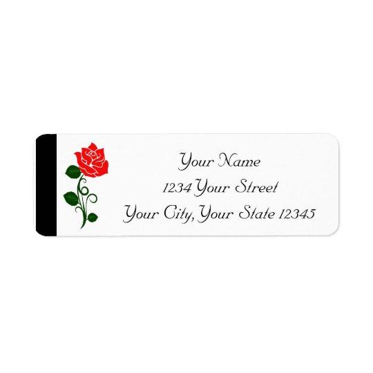 Etiqueta da rosa vermelha etiqueta endereço de retorno