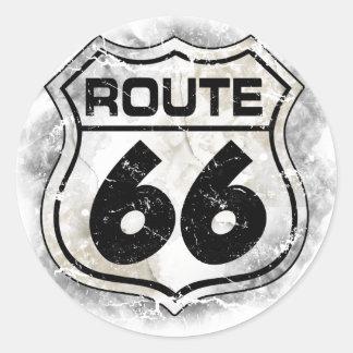Etiqueta da rota 66 adesivo em formato redondo