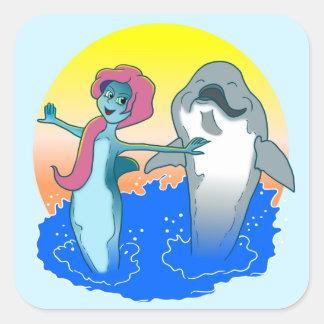 Etiqueta da sereia do golfinho