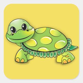 Etiqueta da tartaruga adesivo quadrado