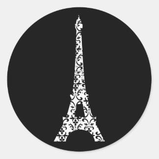 Etiqueta da torre Eiffel do damasco
