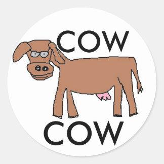 Etiqueta da vaca adesivo redondo
