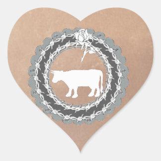 Etiqueta da vaca do Natal Adesivo De Coração