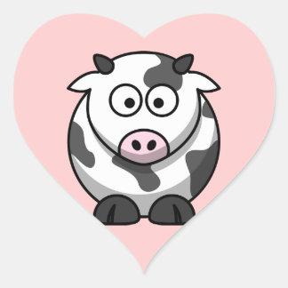 Etiqueta da vaca dos desenhos animados (coração) adesivo coração