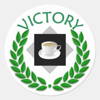 Etiqueta da vitória do tempo do chá adesivos em formato redondos