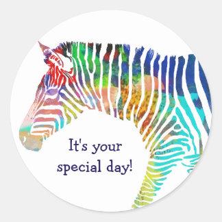 Etiqueta da zebra do feliz aniversario
