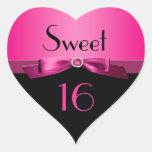 Etiqueta dada forma coração do doce 16 do rosa e d adesivo