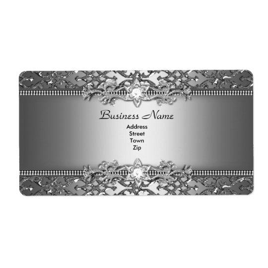 Etiqueta Damasco de prata elegante elegante jóia gravada
