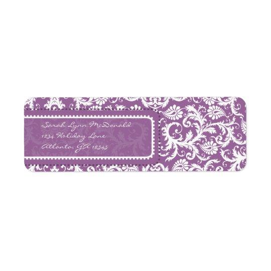 Etiqueta Damasco roxo no endereço do remetente da ameixa