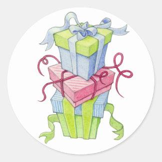 Etiqueta das caixas de presente adesivo em formato redondo