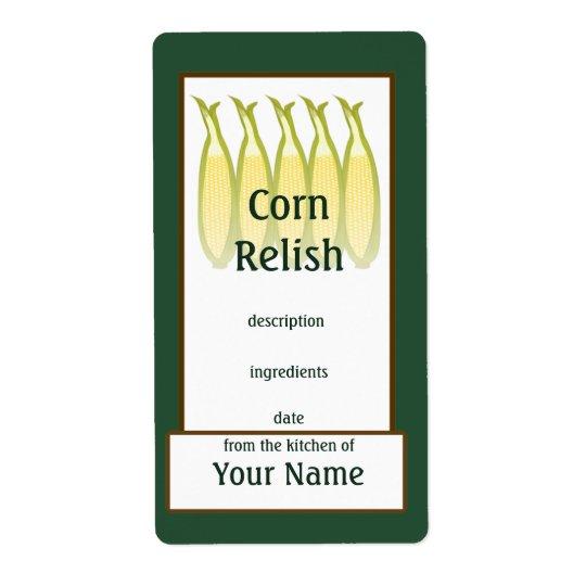Etiqueta das conservas da apreciação do milho